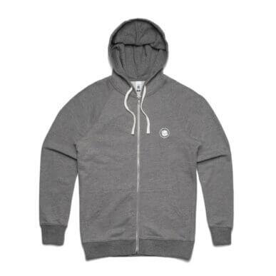 Embroidered Logo Grey Heather Premium Zip Hood